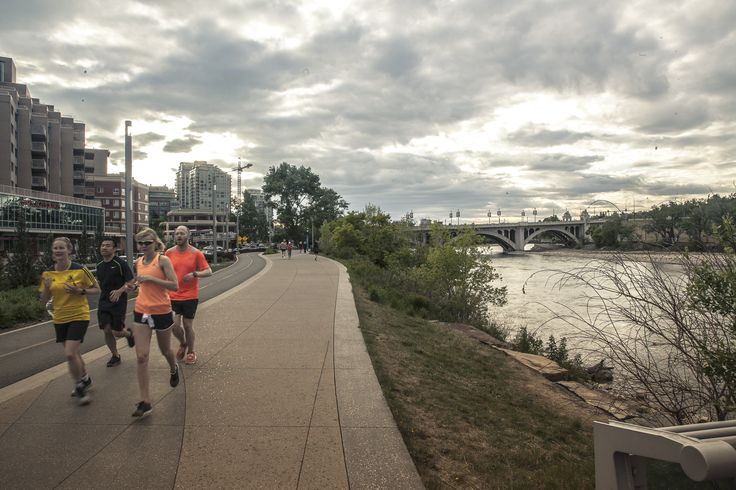 The Bow River offers one of the most beautiful running routes in Canada.