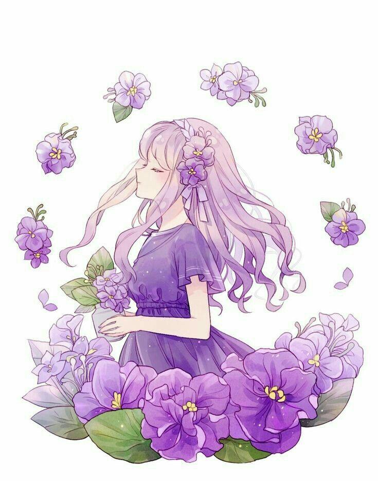 Resultado de imagem para imagem menina anime flores