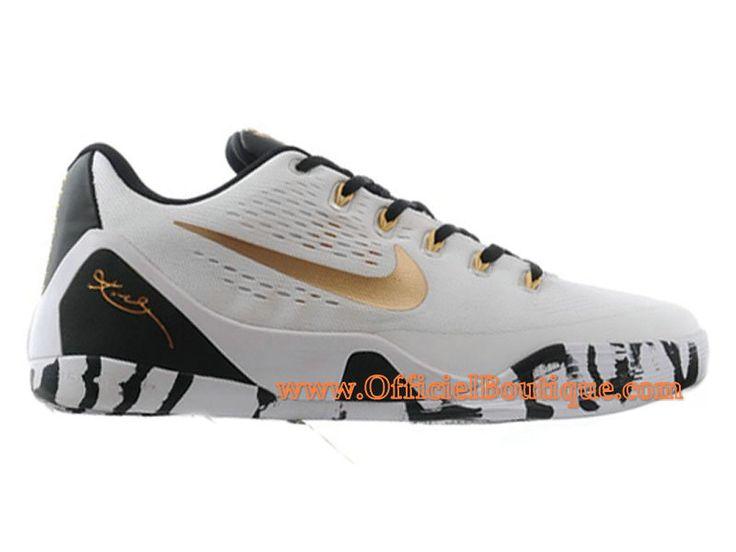 Chaussures Nike Officiel iD BasketBall Pas Cher Pour Homme Nike Kobe Low EM  iD Blanc/Noir-University Gold
