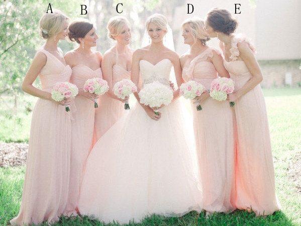 Cheap pink Bridesmaid dress  long bridesmaid dress by TinnaDress, $98.00