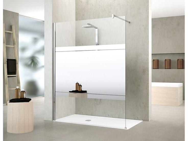 KUADH90-75K Novellini  Novellini Kuadra H Frittstående fastfelt 870-900 mm, med speil, krom/klart glass