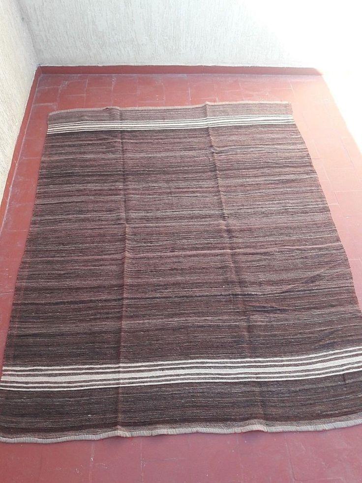 "old handmade moroccan berber tribal bedding haik hanbal blanket rug tapis7'3""x6' #Handmade #NorthAfrican"