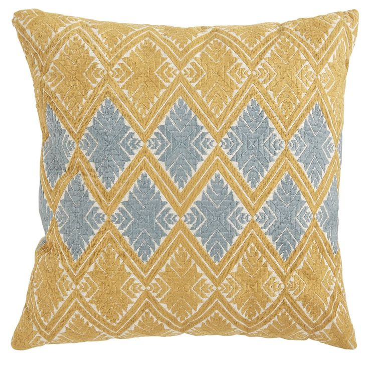 Diamond Embroidered Pillow - Gold & Blue | Pier 1 Imports