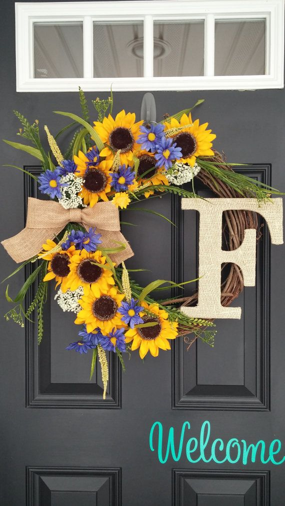Sunflower Wreath Spring Wreath Wildflower by SimplySundayShop