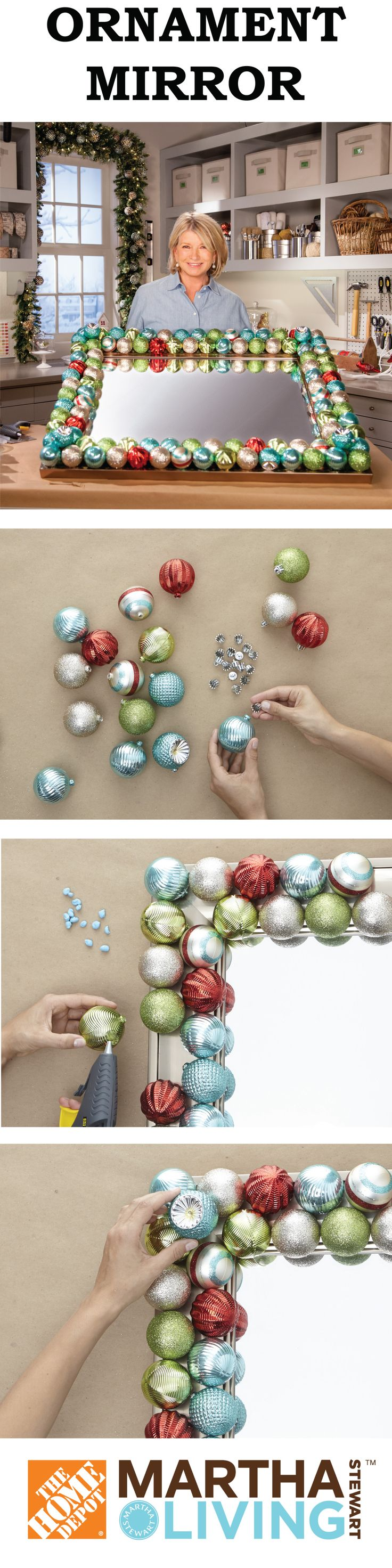 Make a bold holiday statement with this décor! Try embellishing a plain mirror…