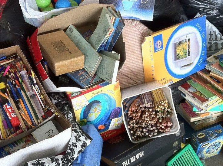 A close up of some of the donations in the Stor-Age Create Happiness Charity Drive in partnership with The Round Table
