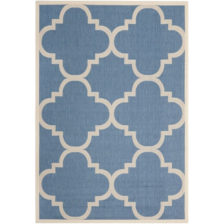 Safavieh Courtyard Blue Beige Geometric Print Indoor Outdoor Rug 9 Ft X 12 Size Polypropylene Border