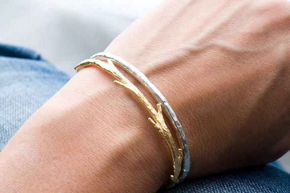 Twig and Raw Cuff Bracelet Set by colbyjune on Etsy
