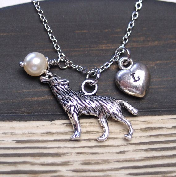 initial necklace wolf necklace Swarovski cream by madebypepper