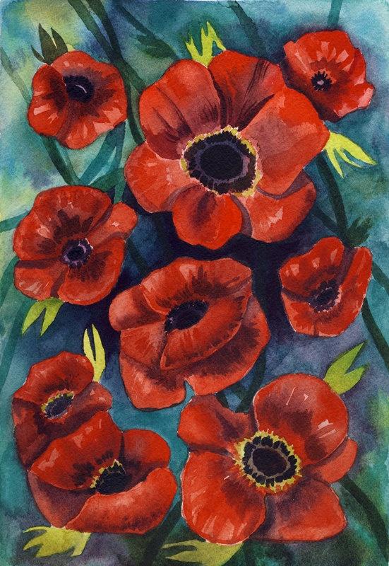 Poppies - Watercolor Painting  Paintings Art  Watercolor Birds  Art    Poppies Watercolor Painting