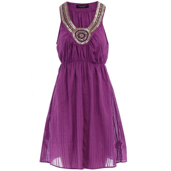 Purple embellished sundress (£12) ❤ liked on Polyvore featuring dresses, vestidos, women's dresses & skirts, sleeveless cotton dress, sleeveless sundress, dorothy perkins dresses, purple sundress and sundress dresses