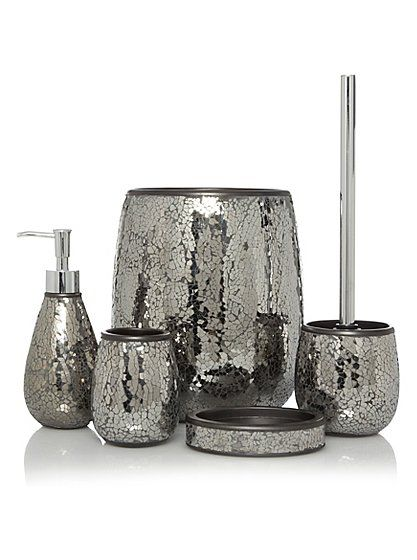 Black Mosaic Bath Accessories Range | Bathroom Accessories | George at ASDA