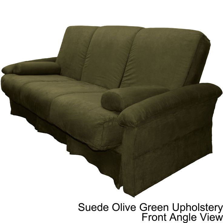 taylor perfect sit and sleep pocketed coil pillow top futon chair or sofa sleeper bed chairsize with suede olive green