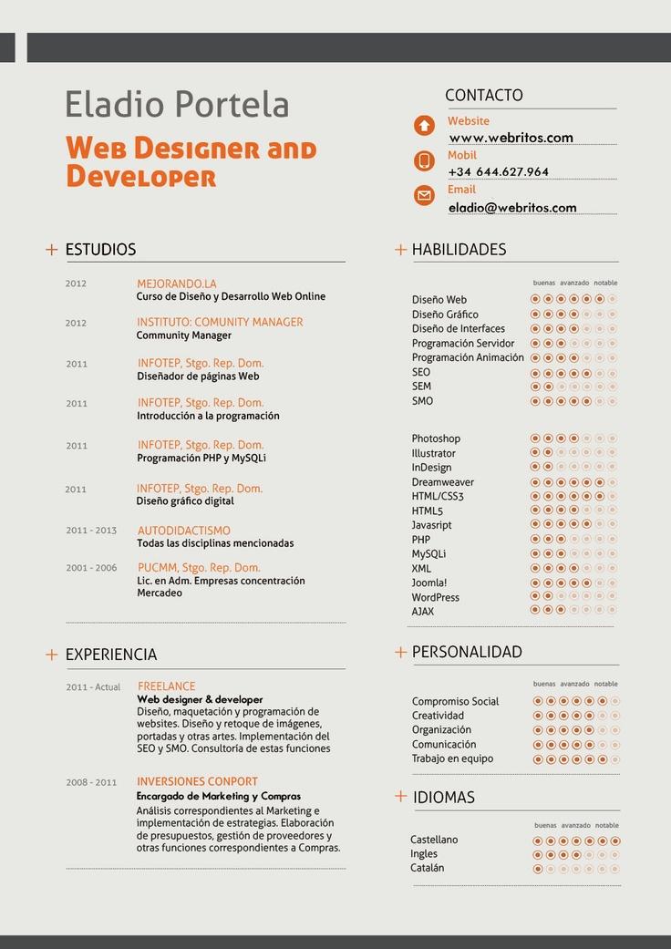 26 best Web Dev - Design - CV images on Pinterest Resume ideas - web developer resume