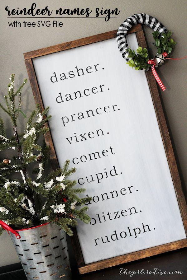 DIY Farmhouse Reindeer Names Sign   Reindeer Names SVG File   Farmhouse Christmas Decorations   Free Christmas SVGs