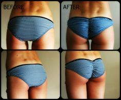 DIY scrunched bikini bottoms---About to do this with every single pair of undies i own.(: