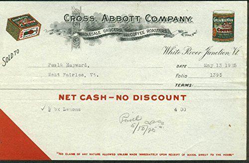 Cross Abbott White River Junction VT invoice for lemons 1925 Green Mountain Tea -- See this great product.