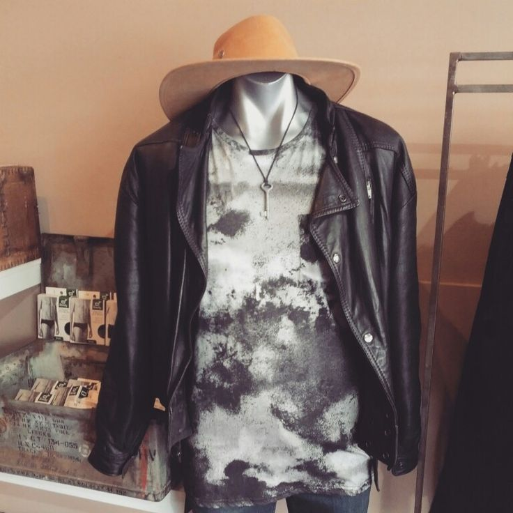 Super cool: Vintage leather 'rebel rebel' leather jacket $59, wrangler 'velvet print' muscle tee $59.95, vintage Kangol  Akubra wide brim hat $49, & vintage key pendant necklace $30 #supercool #super #cool #suave #rebel #black #vintageleatherjacket #velvet #distressed #wrangler #akubra #hat #vintage #key #man #cooldude #shweet #casualcool #casualman