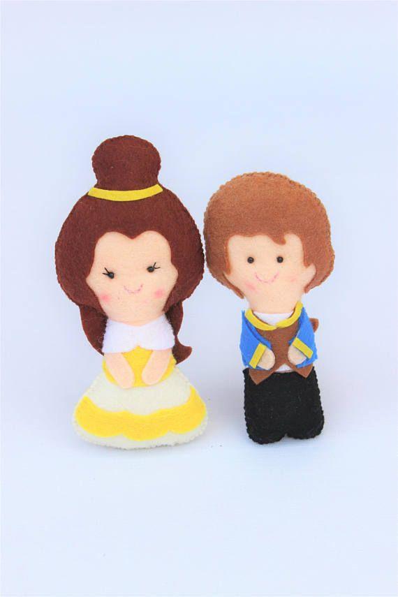 Muñecos de fieltro: Princesa Bella y príncipe, regalo para niña, princesa de fieltro, cuentos infantiles, cumpleaños princesa, juguete niña.