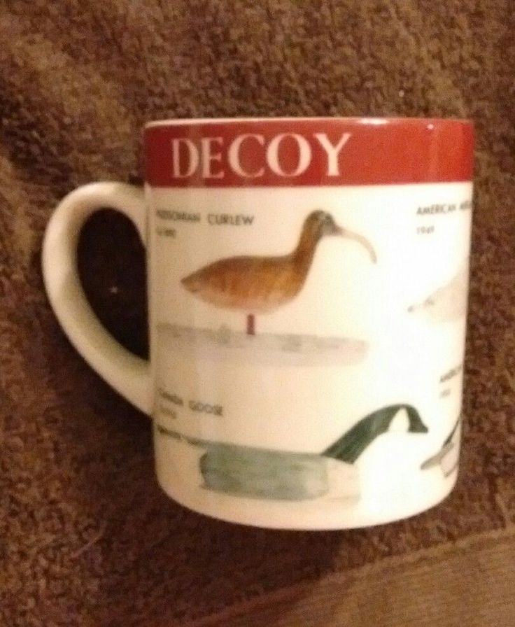 Coffee Mug DUCK COLLECTION Decoys JAPAN Curlew Canada Goose Merganser Canvasback