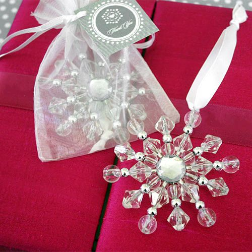 Beaded Snowflake Ornaments with Personalized Tags by Beau-coup