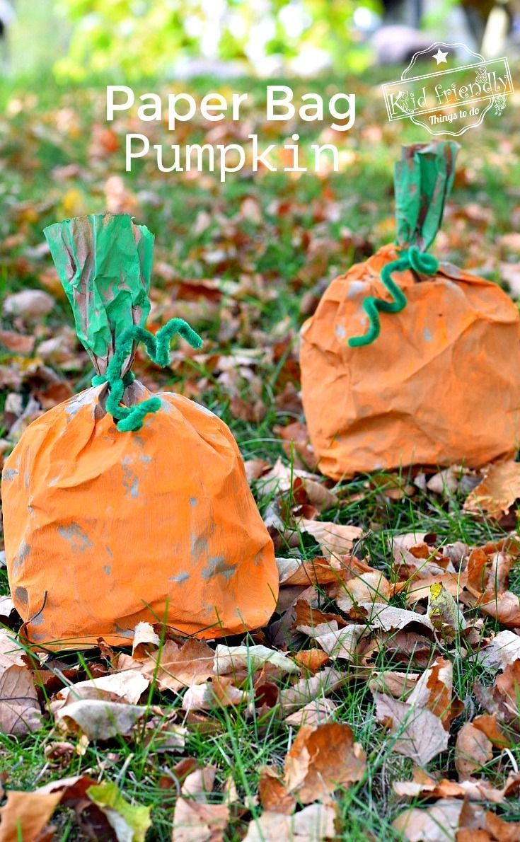 Easy and Fun Paper Bag Pumpkin Craft for Kids to Make #pumpkincraftspreschool Ea…