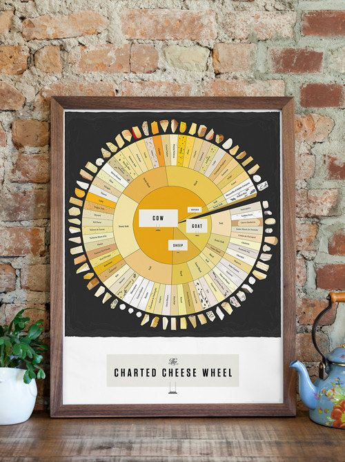 Cheese Types Poster The Charted Cheese Wheel 18 x by PopChartLab