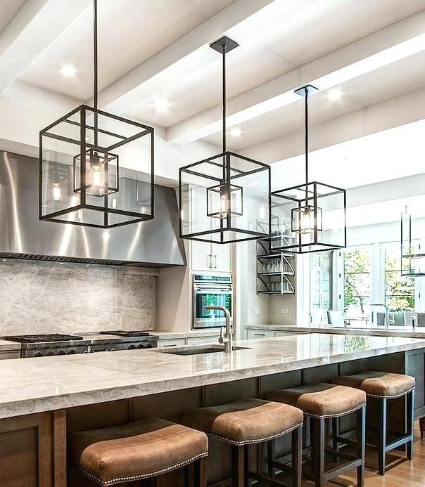 Modern Kitchen Island Pendant Lights Cube Cage Lighting Complete With Bulbs Complements An Light Fixture And Stools For