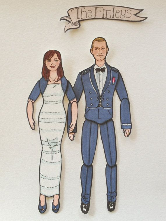 Articulated Paper Dolls  Custom COUPLE portraits by LaCatrinaArt