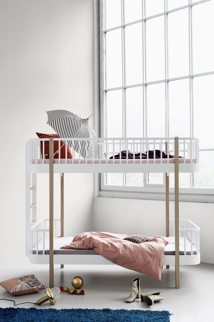 Gorgeous Scandinavian childrens' furniture range - White & Oak Scandi Bunk Bed by Oliver Furniture from Nubie. http://www.nubie.co.uk/childrens-furniture/bunk-beds-and-loft-beds/white-oak-scandi-bunk-bed-oliver-optional-drawer