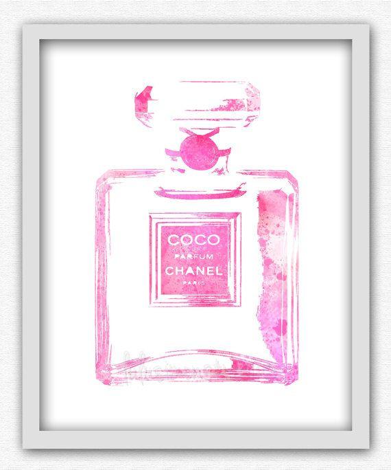 8 x 10 Wall Decor Print, Modern Home Decor, Chanel Perfume Bottle, Chanel Watercolor Print-COCO Chanel Perfume Bottle Print