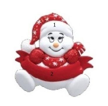 Ornament Malý červený snehuliak