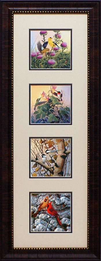 Early Arrivals by artist Derk Hansen is a really lovely four square wholesale framed art print celebrating the four seasons and the birds who we commonly see. Spring features gorgeous goldfinches feeding atop thistle flowers; Summer features delicate colorful hummingbirds sipping nectar out of trumpet shaped flowers; Autumn features black capped chickadees sitting amidst fall foliage on a birch tree limb and Winter features a male and female cardinal perched on the snowy branches of a pine…