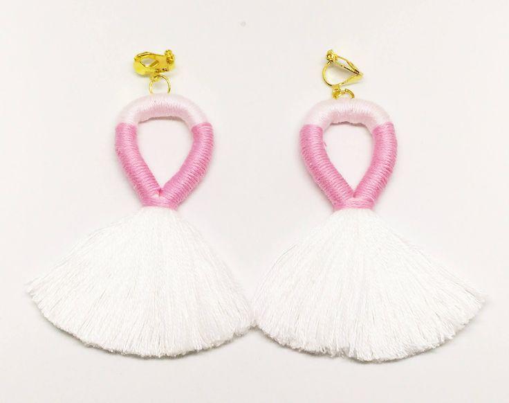 White Tassel Earrings Clip On Earrings,Pink Clip On Earrings,Statement Earrings,Multi-coloured Earrings,Clip On Long Tassel Earrings by Minimice29 on Etsy
