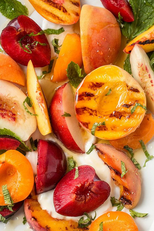 Stone Fruit Salad with Yogurt, Honey, & Mint | Will Cook For Friends