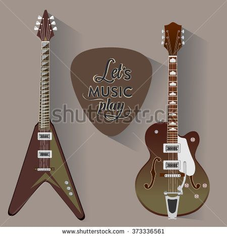 electric guitar set. guitar pick. Musical string instrument collection.