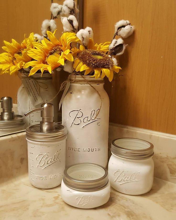 Mason Jars White Jar Set Bathroom Decor Soap Dispenser Qtip Holder