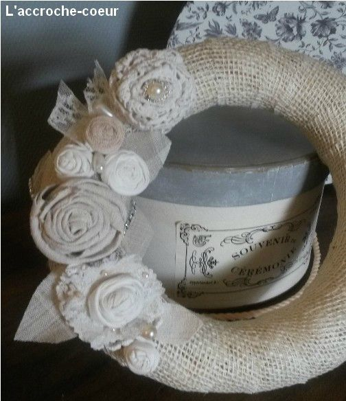 Couronne de fleurs shabby decoracion pinterest for Couronne shabby chic