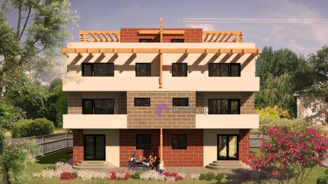 Case moderne cuplate- Vedere fatada secundara| Duplex single-family homes- The secondary facade| Etichete: case cuplate moderne, case cuplate cu acoperis tip terasa, proiecte case mari cu etaj
