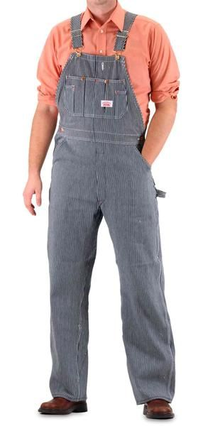 Roundhouse Hickory Stripe Bib Overalls.