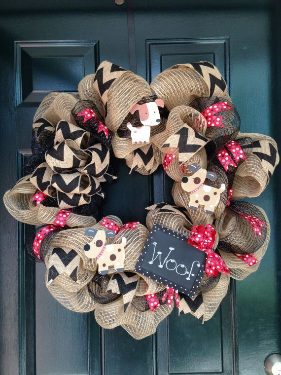 Dog deco mesh wreath.  Wreath accented with chevron ribbon, chalkboard and dogs.