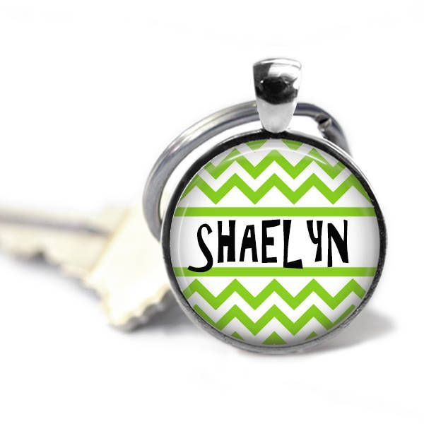 Custom key chain - Name key chain - Choose your color - Chevron key chain - Party favor idea - Birthday gift - New driver gift by Shaebugs on Etsy