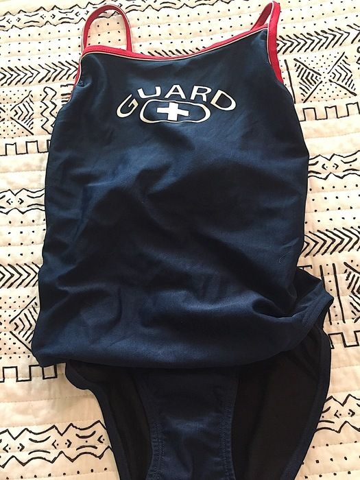 Navy + White + Red Lifeguard Swimsuit // Size 34 {Small}