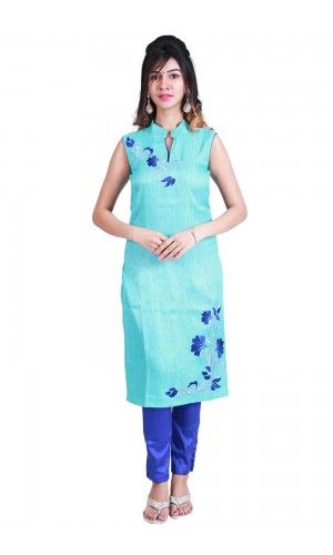A perfect wear for the monsoon season! Featuring a sky blue kurta in Chennai silk base with zari and thread embroidery neck and Front.