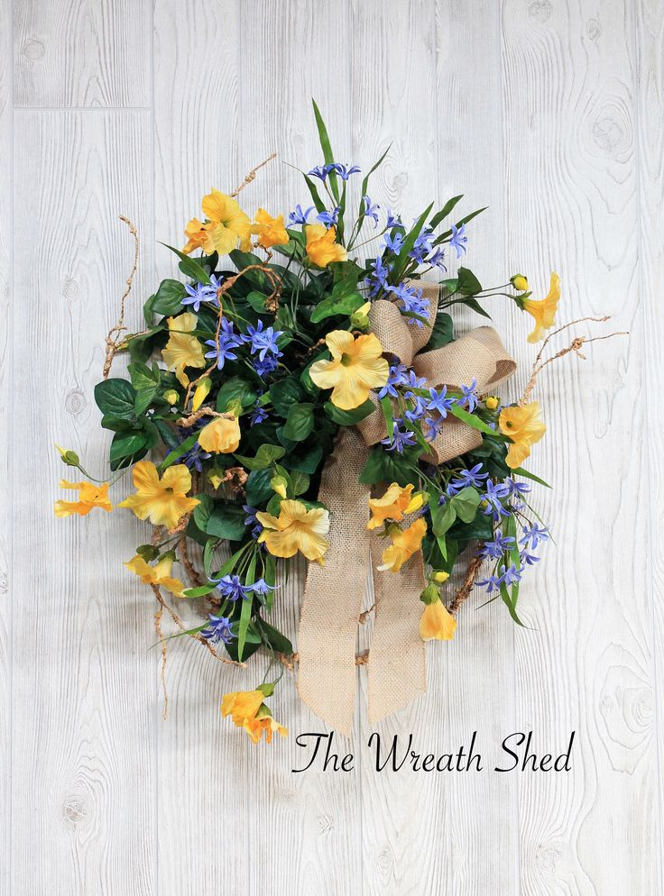 Ships Free, Wreaths, Yellow Petunia Wreath, Spring Wreath, Summer Wreath, Spring Wreath for Front Door, Front Door Decor, Farmhouse Wreath by TheWreathShed on Etsy https://www.etsy.com/listing/582371757/ships-free-wreaths-yellow-petunia-wreath
