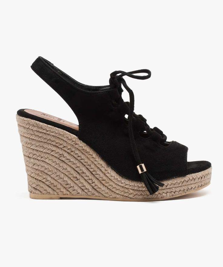 Sandales compensées dessus suédine Noir
