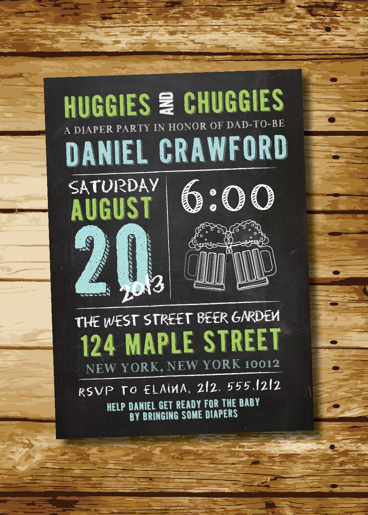 Huggies & Chuggies Chalkboard Man Shower Diaper Party Invitation- Digital File by FreshPickedPaperie on Etsy https://www.etsy.com/listing/153392412/huggies-chuggies-chalkboard-man-shower