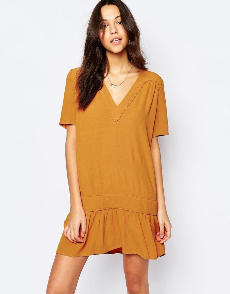 BA&SH | BA&SH Frida Drop Waist Dress with V Neck at ASOS