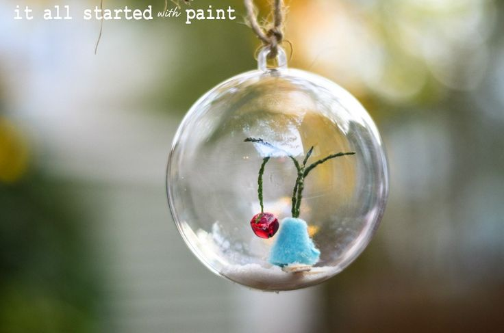 Charlie Brown Christmas tree ornament in glass ball - can you stand the cuteness?! #diy #christmas
