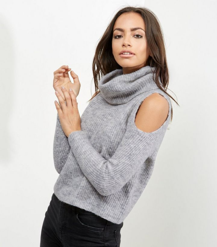 Tall Grey Ribbed Cowl Neck Cold Shoulder Jumper | New Look